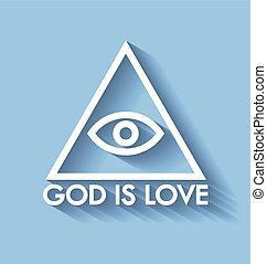 God is love - Eye of God pyramid with lettering on pale blue...