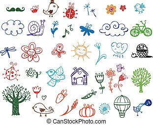 Set of Eco doodles - Set of vector eco labels in doodle...