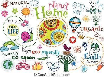 Planet home doodle set