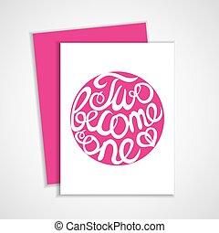 Lettering element in pink color for wedding design - Card...