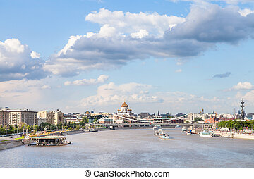 Moscow skyline with Crimean bridge and Catherdral - Moscow...