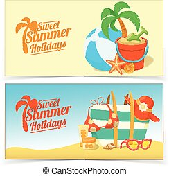 Sea shore and beach accessories - Summer tropic vacation...