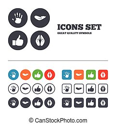 Hand icons Like thumb up and insurance symbols - Hand icons...