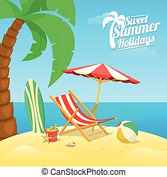 Sea shore beach view - Summer tropic travel background...
