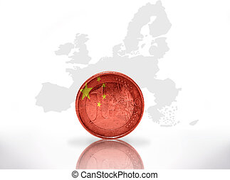 euro coin with chinese flag on the european union map...