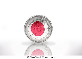 euro coin with japanese flag on the white background