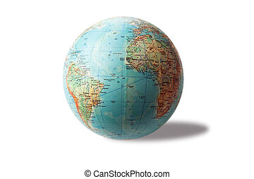Terrestrial globe on white background