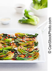 Spicy Bok Choy - Roasted baby bok choy with spicy sauce and...