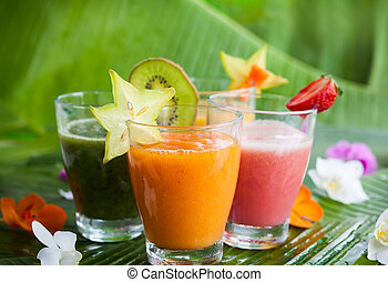 Fresh fruit smoothies - Assortment of fresh tropical fruits...