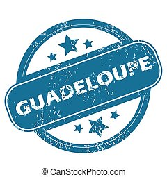 GUADELOUPE round stamp - Round rubber stamp with word...