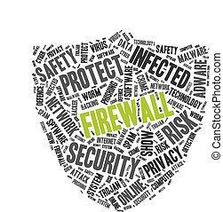 Firewall word cloud in a shape of shield