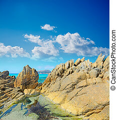 yellow rocks in Santa Reparata coast, Sardinia