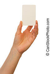 Blank card in hand on white background