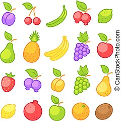 icons of a fresh fruits
