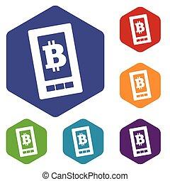 Bitcoin screen hexagon icon set