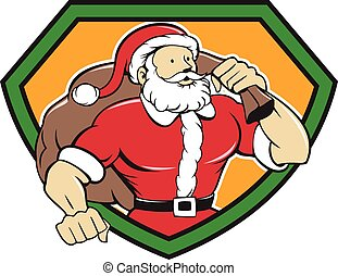 Super Santa Claus Carrying Sack Shield Cartoon - Cartoon...