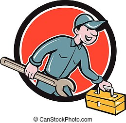 Mechanic Carrying Toolbox Spanner Circle Cartoon -...