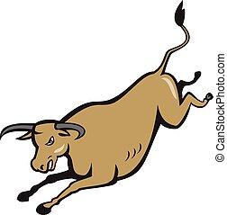 Texas Longhorn Bull Jumping Cartoon