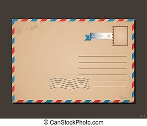 Vintage postcard and postage stamps. Design envelope pattern letters