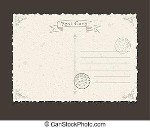 Grunge postcard and postage stamp. Design envelopes letter