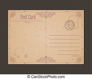 Vintage postcard and postage stamp. Design envelopes letter
