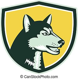 Siberian Husky Dog Head Crest Retro - Illustration of a...