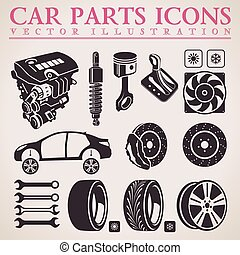 Car parts set. Vector repair car service icons