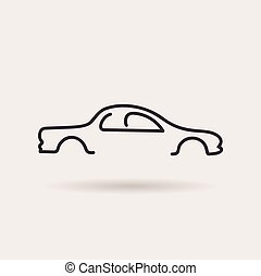car logo. contour line silhouette. vector icon - car logos....