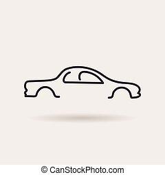 car logo. contour line silhouette. vector icon - car logos....