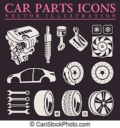 Car parts icons set. Vector auto service repair tool