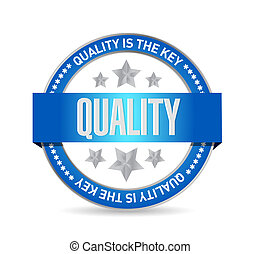 quality is the key seal sign concept illustration design...