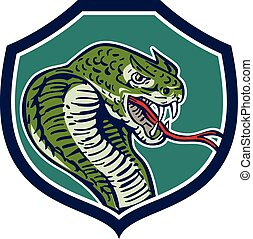 Cobra Viper Snake Shield Retro - Illustration of a cobra...