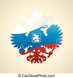 Russian coat of arms double-headed eagle. Symbol of imperial Rus