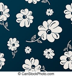 White and black flowers seamless background