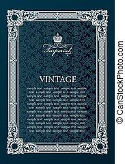 Label vector frame. Vintage antique decor ornament