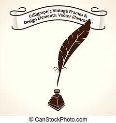 Feather pen ink. Calligraphic ribbon roll letter vintage