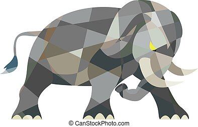 Elephant Attacking Side Low Polygon - Low polygon style...