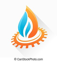 Vector symbol fire with gear. Orange and blue flame glass icon w