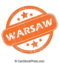 Warsaw rubber stamp - Round rubber stamp with city name...