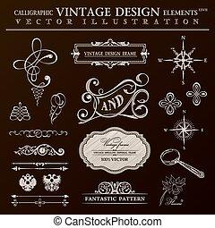 Calligraphic design elements vintage set. Vector ornament frame