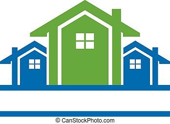 Houses in line logo - Big house with two small ones side to...