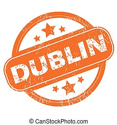 Dublin round stamp - Round rubber stamp with city name...