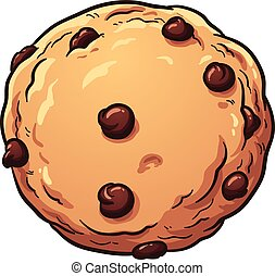 Chocolate chip cookie. Vector clip art illustration with...