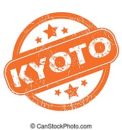 Kyoto round stamp - Round rubber stamp with city name Kyoto...