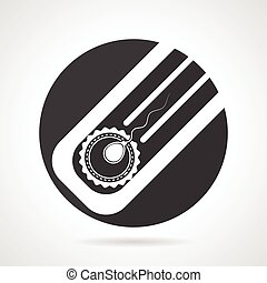 Artificial insemination black round vector icon - Black flat...