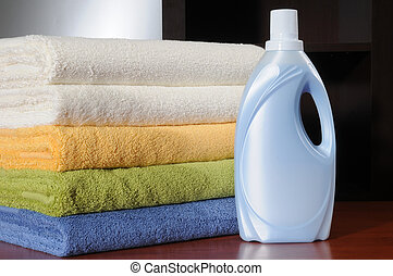 Laundry - Softness liquid bottle with clean towels