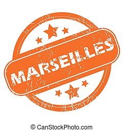 Marseilles round stamp - Round rubber stamp with city name...