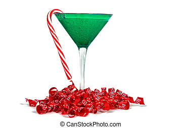 Christmas Cocktail - Candy cane hanging from a holiday drink...