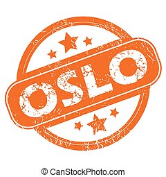 Olso round stamp - Round rubber stamp with city name Oslo...