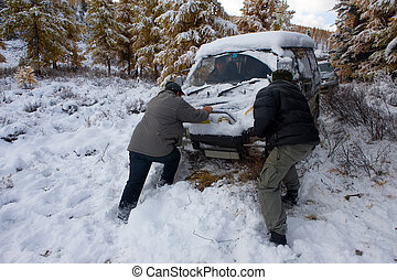Without road - Men push out got stuck car in wood
